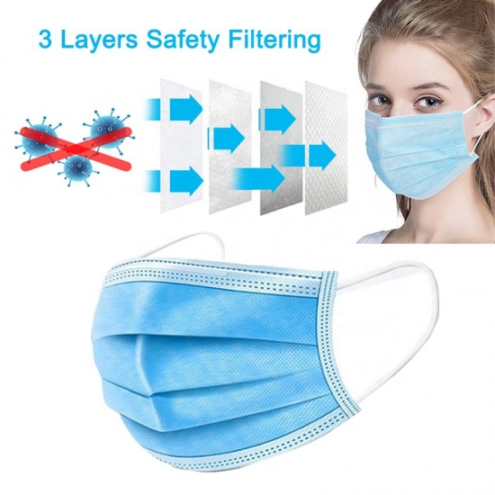 5 pieces x 3-Layer Washable Face Mask Breathable Anti Haze Safety Mouth Medical Mask lot UK